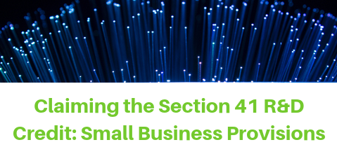 Claiming the Section 41 R&D Credit: Small Business Provisions