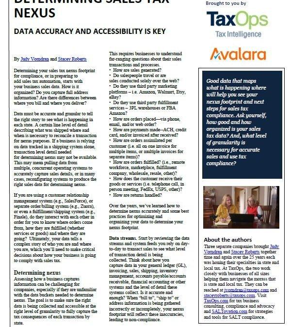Determining Sales Tax Nexus