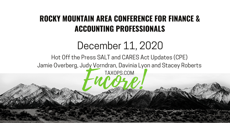 TaxOps offer CPA for RMAC on SALT and CARES Act Updates