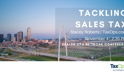 Stacey Roberts to Speak to DealerCPA Network on Sales Tax