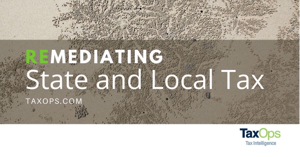 Moving rock background for remediating state and local tax