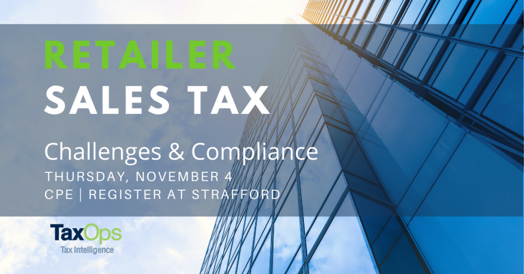 Retailer Sales Tax CPE for tax professionals