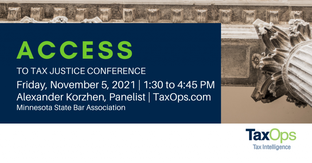 Access to Tax Justice Conference, November 5. Featuring Alexander Korzhen, Panelist and J.D. at TaxOps